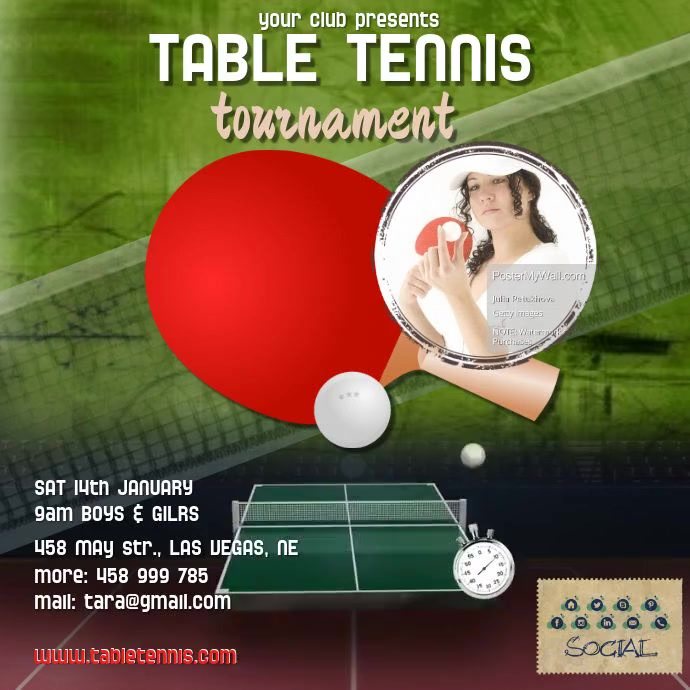 Table tennis video1 template postermywall for Table tennis tournament template