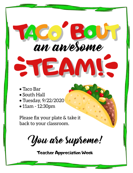 TACO'BOUT AN AWESOME TEAM Flyer (US Letter) template