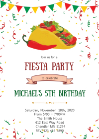 Taco Fiesta party theme invitation A6 template