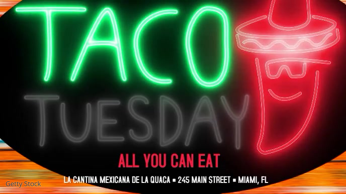 Taco Tuesday Mexican Restaurant Video Ad Digitale Vertoning (16:9) template