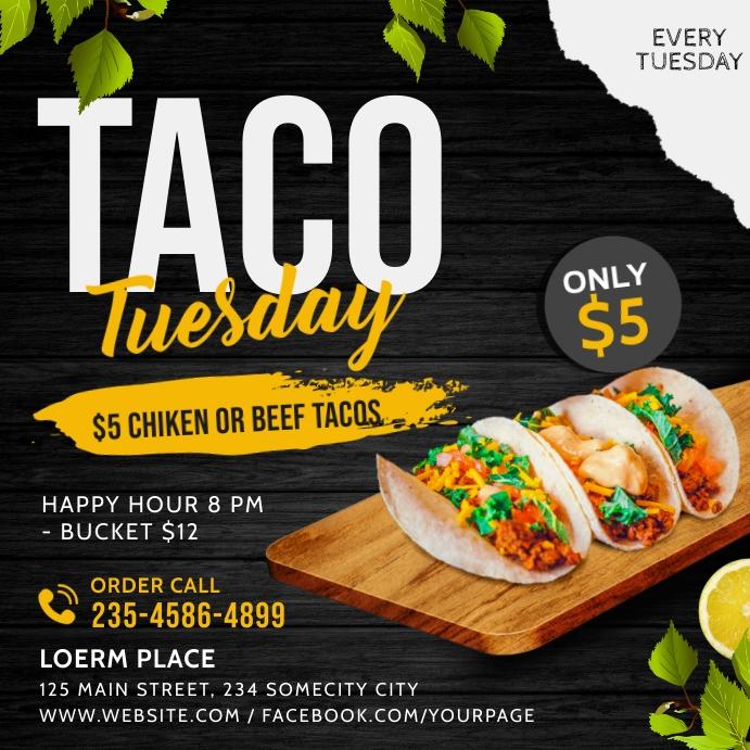 Taco tuesday social media instagram post bann template