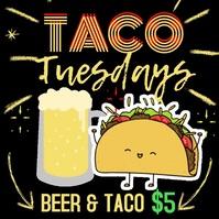Taco Tuesday Social Media Marketing Template Сообщение Instagram