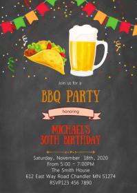 Tacos beer birthday party invitation