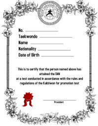 taekwondo/Korea/certificate/award/diploma