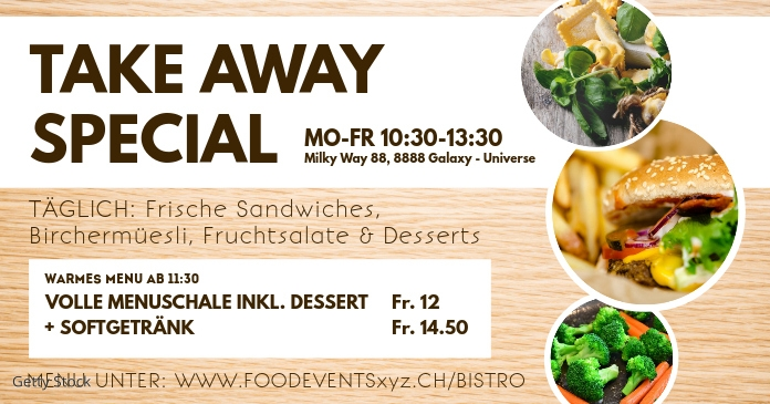 Take Away Banner Header Food Delivery Advert Facebook 共享图片 template
