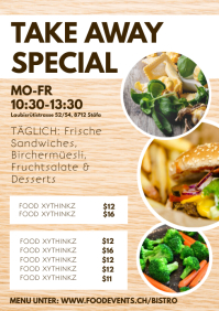 Take away Flyer Poster Food Delivery Advert A4 template
