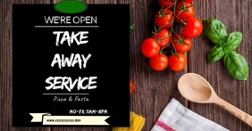 Take Away Header Flyer Food Delivery Template Imagen Compartida en Facebook