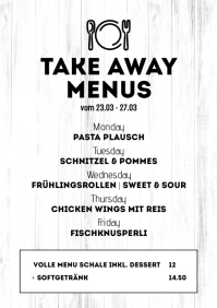 Take Away Menu Plan Flyer Poster Advert Food