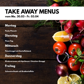 Take Away Menu Plan Restaurant Weekly Offer