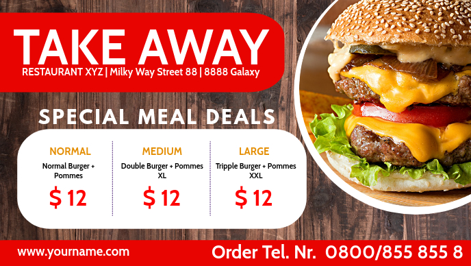 Take Out Away Out Fast Food Truck Cover Facebook-omslagvideo (16: 9) template