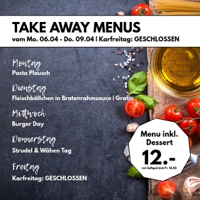 Take Away Out Weekly Menu Plan Advert Food