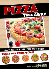 Take Away Pizza Special Delivery Take out A5 template