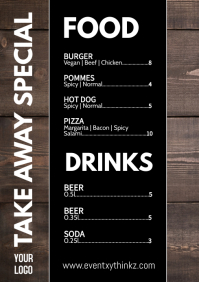 Take Away Price List Flyer Delivery Poster Ad