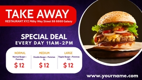 Take Out Fast Food Menu Offer Special Banner Facebook-Covervideo (16:9) template
