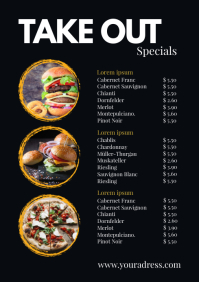 Take out Menu Price List Flyer Poster Food A4 template