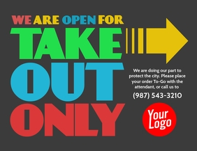 Take out only color restaurant flyer poster