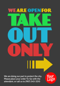 Take Out Only colorful restaurant notice a4 template