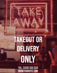Takeout delivery only restaurant flyer template