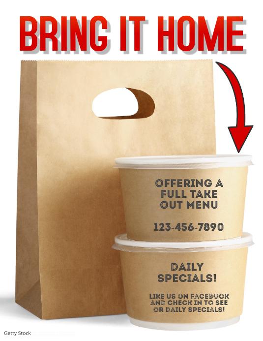 Takeout food or delivery flyer template Løbeseddel (US Letter)