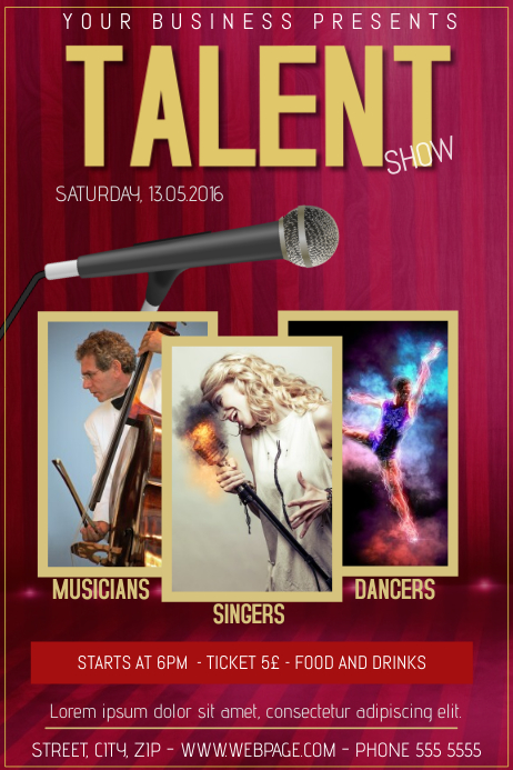 Talent Show Poster Template Dinosauriensfo