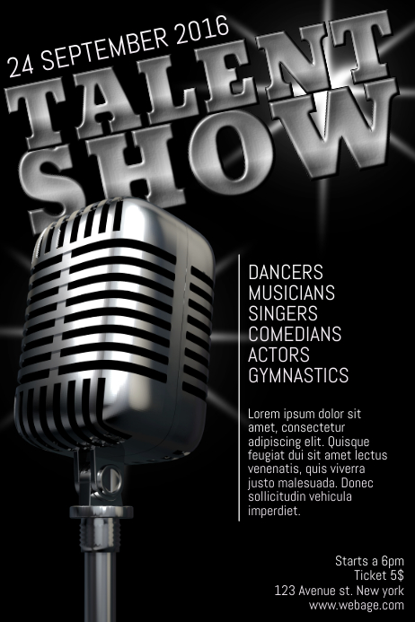 Talent Show Poster Flyer Template Postermywall