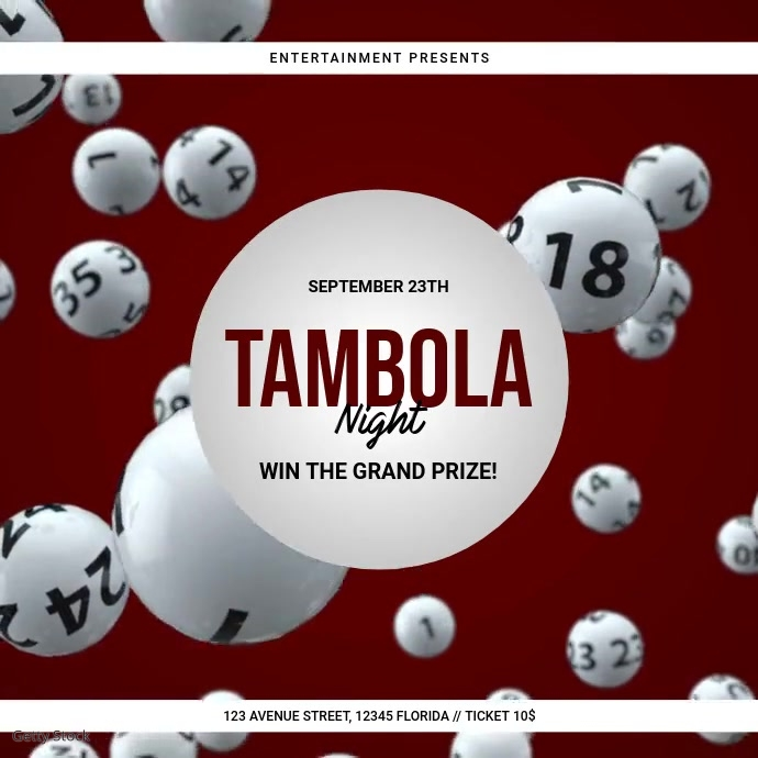 Tambola Bingo Event Video Ad Template Wpis na Instagrama