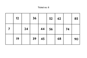 Tambola bingo ticket design template Label