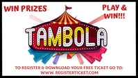 Tambola game night play win tickets Visitkort template