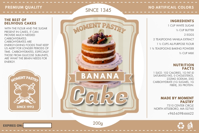Tan Bakery Cupcake Mix Packing Label Template Etiket