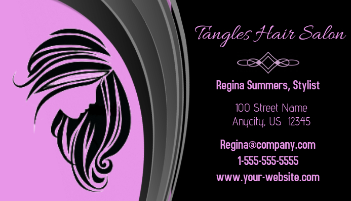 Tangles hair salon business card template postermywall tangles hair salon business card customize template wajeb Choice Image