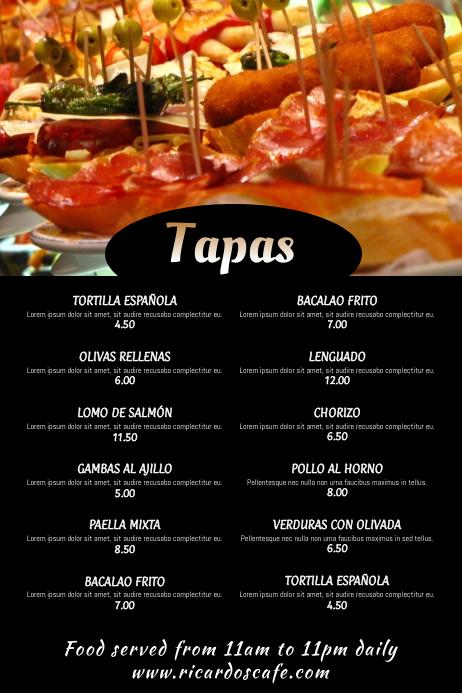 tapas bar restaurant menu template