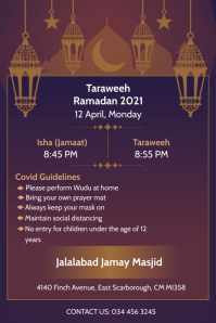 Taraweeh timing and etiquettes poster Póster template