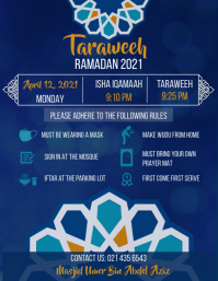 Taraweeh timing and etiquettes poster Volante (Carta US) template