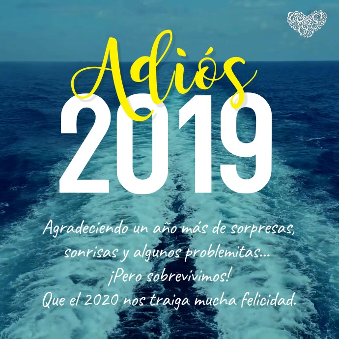 Tarjeta Adiós 2019 Bienvenido 2020 Persegi (1:1) template