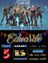 birthday party invitation Fortnite Flyer (US Letter) template