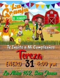 Tarjeta de Invitacion Cumpleaños La granja d Folheto (US Letter) template