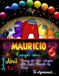 Tarjeta Invitacion Cumpleaño party among Volante (Carta US) template