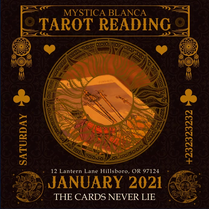 Tarot Reading Event Instagram Video Template Carré (1:1)
