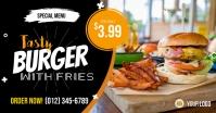 Tasty Burger with Fries Social Media Post Tem Imagen Compartida en Facebook template