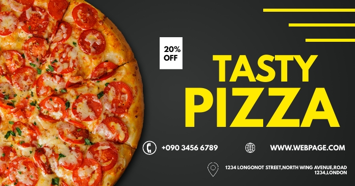 TASTY PIZZA FLYER Facebook Shared Image template