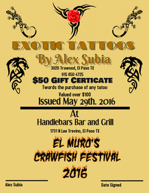 tatoo gift cert