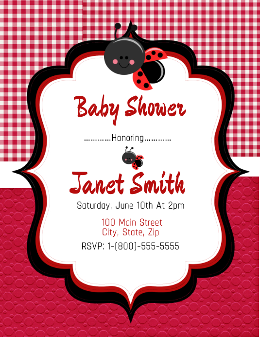 Lady Bug Baby Shower เทมเพลต | PosterMyWall