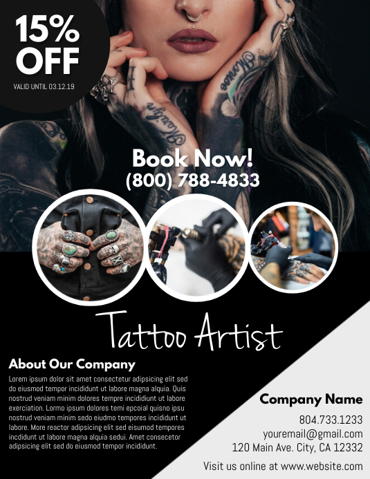 Tattoo Løbeseddel (US Letter) template