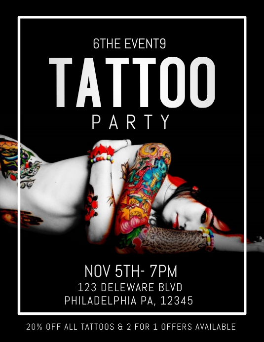 TATTOO FLYER ใบปลิว (US Letter) template