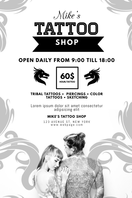 Tattoo Piercing Shop Flyer Template Postermywall