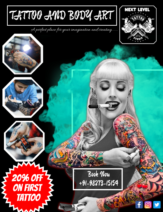 Tattoo studio indore Flyer (US Letter) template