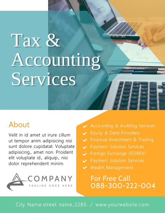 Tax & Consulting Services Flyer Poster Templa