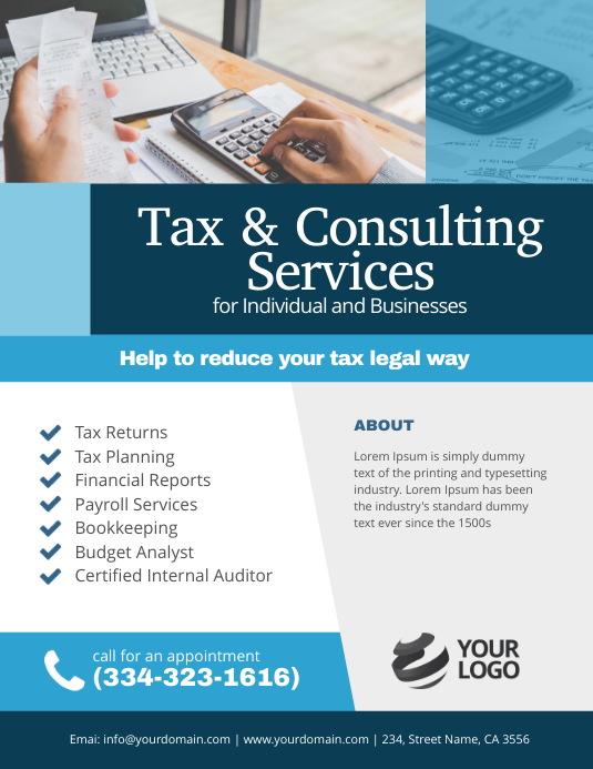 Tax & Consulting Services Flyer Poster Template Løbeseddel (US Letter)