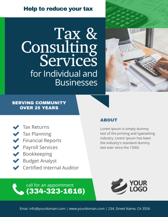 Tax & Consulting Services Flyer Poster Template