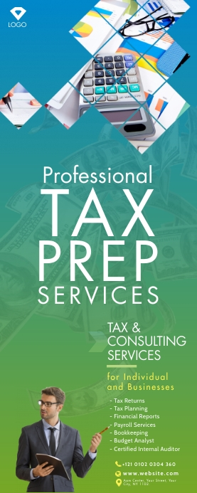 Tax & Consulting Services Roll-Up Banner Rullebanner 2' × 5' template